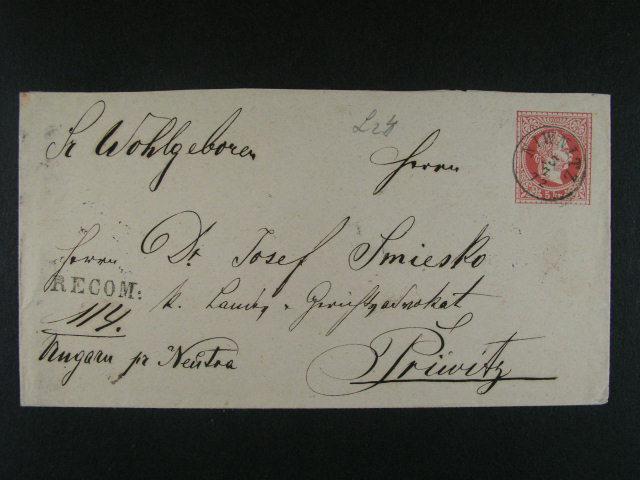 R-celinová obálka vydání 1867 dofrank. na zadní stran? zn. Fe. ?. 37 I (2x), pod. raz. NIWNITZ 5.7.72, zajímavé