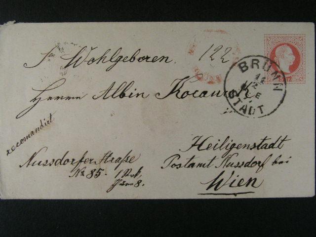 celinová obálka vydání 1867 dofrank. na RECO 10kr, pod. raz. BRÜNN STADT 14.2.77 + p?ích. raz., dobrá kvalita