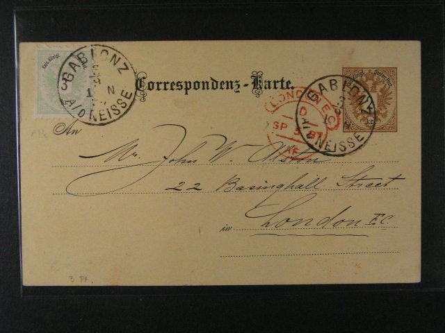 dva KL vydání 1883, dofrank. zn. 3kr, do Londýna s pod. raz. GABLONZ ..., resp. do Udine s pod. raz. CERNIZZA, lux. kvalita