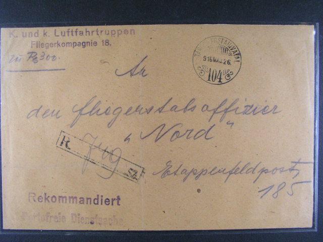 služební R-dopis s pod. raz. TÁBORY POSTAHIVATAL 26.MAJ.1916 + ?ádkové útvar. raz. K.u.K. Luftfahrttruppen Fliegerkompagnie