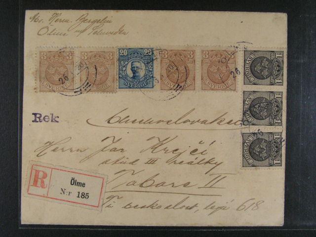 R-dopis z r. 1920 do ?SR frank. pestrou frankaturou (zn. Mi. ?. 64 3x, 66 4x, + 74), pod. raz. ÖLME