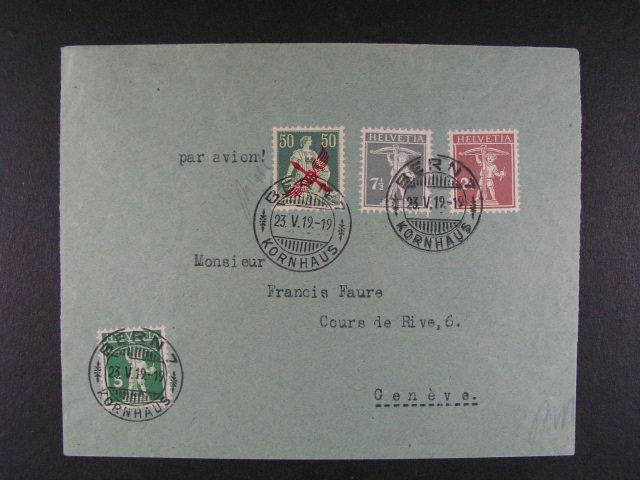 let. dopis do Ženevy frank. zn. Mi. ?. 113, 136, 145, 138, pod. raz. BERN 23.5.1919, p?ích. raz., velmi dobrá kvalita, zk. Bísek