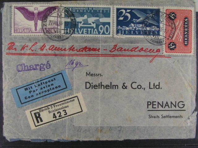 R-let. dopis do Penangu frank. zn. Mi. ?. 180, 184, 191, 258, pod. raz. ZURICH 27.7.35 + p?ích. raz., kvalita k prohlédnutí