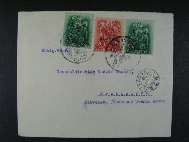 celistvost do Bratislavy frank. ma?arskými zn., pod. raz. KASSA 9.12.38 + p?íl. raz. KASSA VISSZATÉRT 1938