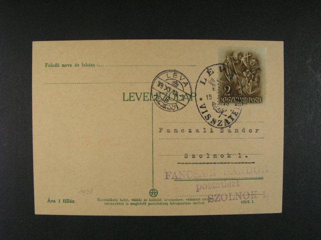 dva KL frank. ma?. zn. 2fil s denním raz. LÉVA a KOÁROM 1938 + oválná raz. VISSZATÉRT, dobrá kvalita