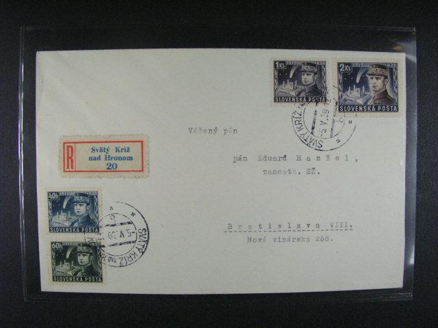 R-dopis do Bratislavy frank. zn. ?. 34 - 37, pod. raz. SVÄTÝ KRÍŽ NAD HRONOM 5.5.39