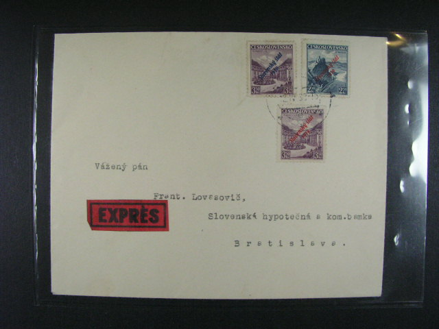 EXPRES dopis frank. zn. ?. 17 + 19a, 19b, pod. raz. BRATISLAVA 12.4.39