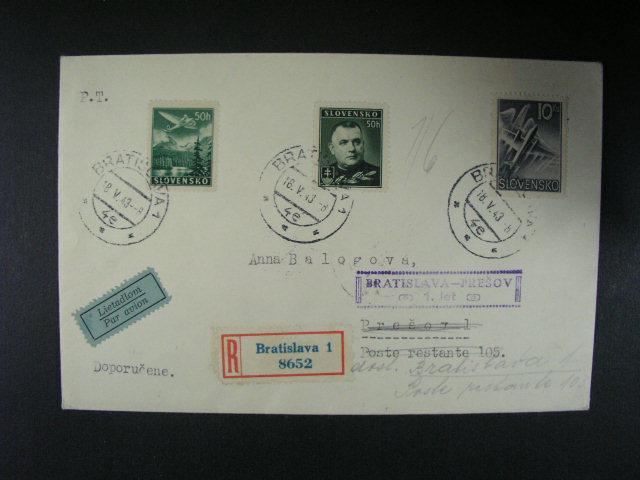 R-dopis p?epr. 1. letem Bratislava - Prešov, pod. raz. BRATISLAVA 1 18.5.43