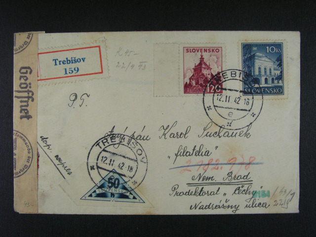 R-EXPRES dopis do Protektorátu frank. mj. zn. ?. 46 + DR 1 jako výplatní, cenzurní páska, raz., p?ích. raz.