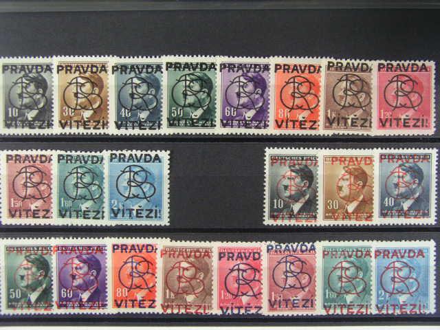 Brno - sestava 11 ks protektor. zn. s p?etiskem PRAVDA VÍT?ZÍ v ?erné barv?, dtto s p?etiskem v ?ervené barv?