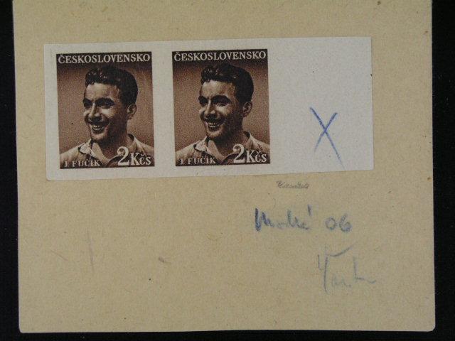 ZT zn. ?. 505 ve vodorovné dvoupásce s pravým okrajem p?ilepené na kousku kartonu, zk, Karásek, kat. cena 2000 K?