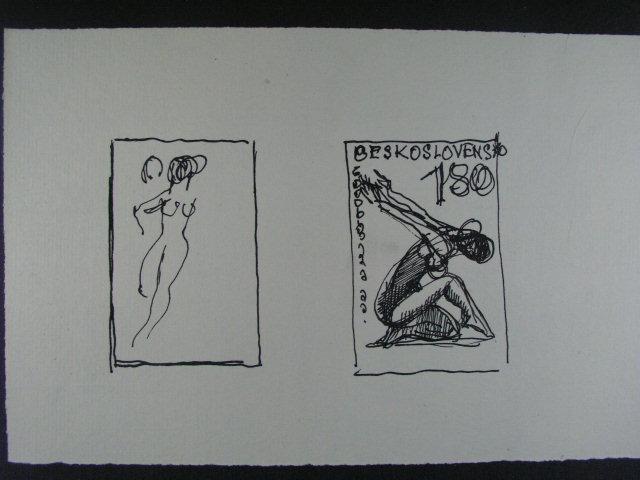 studijní kresba tuší A. Podzemné na zn. ?. 1444 - 7