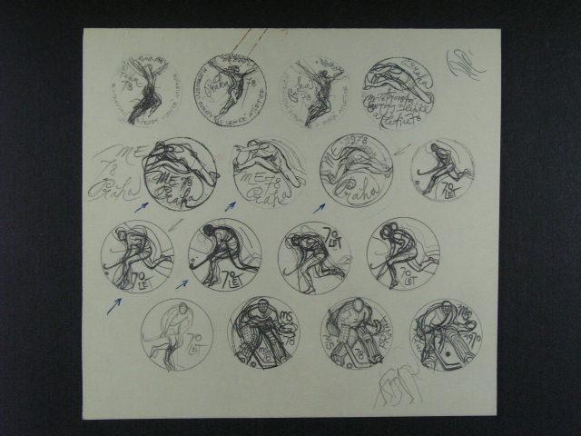 p?ípravné kresby tužkou na razítka k MS v ledním hokeji a MS v atletice 1978 I. Rumanského