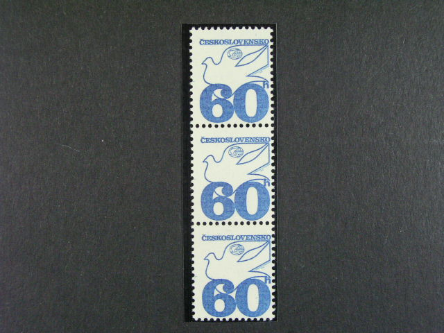 zn. ?. 2113 VV 1 ve svislé t?ípásce (vynechaná žlutá a ?ervená barva, kat. cena cca 1500 K?