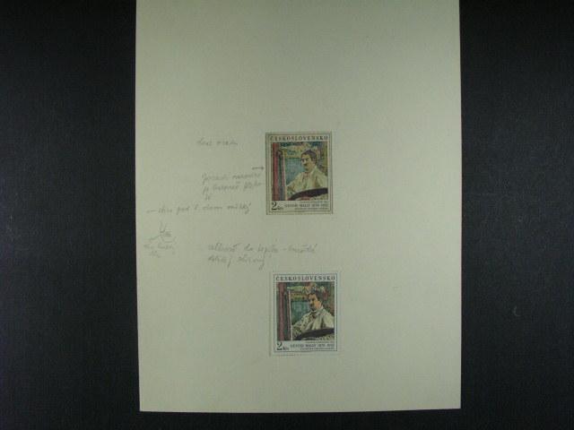 otisk orig. rytiny zn. ?. 2406 v p?vodních barvách s poznámkami úprav rytiny, autor J. Mrá?ek