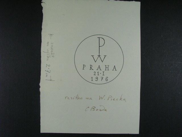 návrh pošt. razítka P.W. PRAHA 21.1.76, sign. C. Bouda