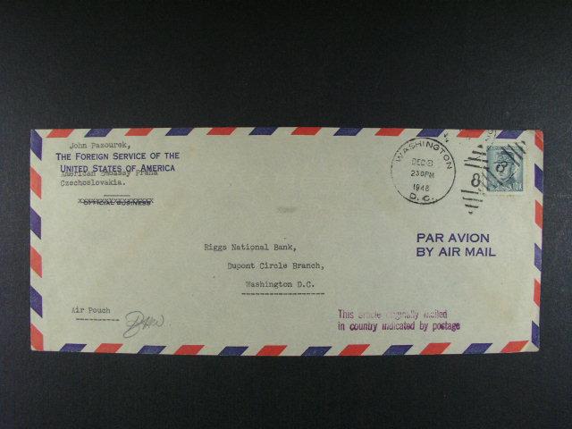 konzulární kurýrní dopis v míst? s pod. raz. WASHINGTON  DEC.3.1948, zajímavé
