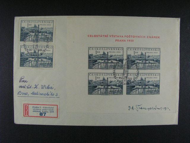 R-dopis frank. zn. ?. 562 (2x) a A 564 s R-nál. a raz. PRAHA 1 CELOSTÁTNÍ VÝSTAVA POŠT. ZNÁMEK PRAHA 50 a podpisem autora. J. Švengsbír 1950