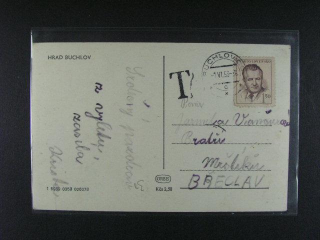 M?nová reforma - pohlednice frank. zn. 1,50K? (1. den) s vybraným doplatným a celistvost s pestrou frankaturou 24 K?s, pod. raz. BUCHLOVICE, resp. BROUMOV