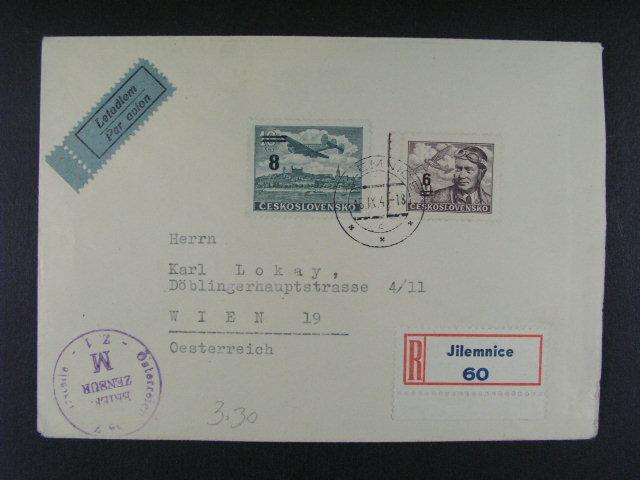 R-letecký dopis do Rakouska frank. zn. L ?. 27, L 29, pod. raz. JILEMNICE 15.9.46