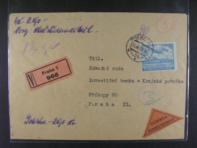 Dobírkový pen?žní dopis frank. zn. L ?. 22, pod. raz. PRAHA 21.4.53 + p?ích. raz., velmi zajímavé