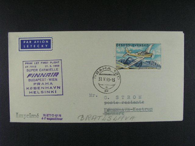 sestava 5 ks celisvostí p?epr. prvními nebo zvláštními letey z let 1966 - 71