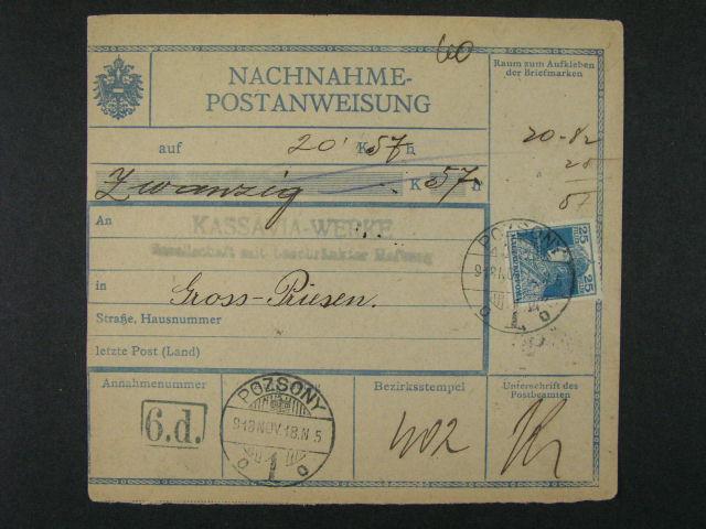 dvě uherské průvodky frank. zn. P č. 63 (Mi. 216) s raz. RAJECZ resp. POSZONY