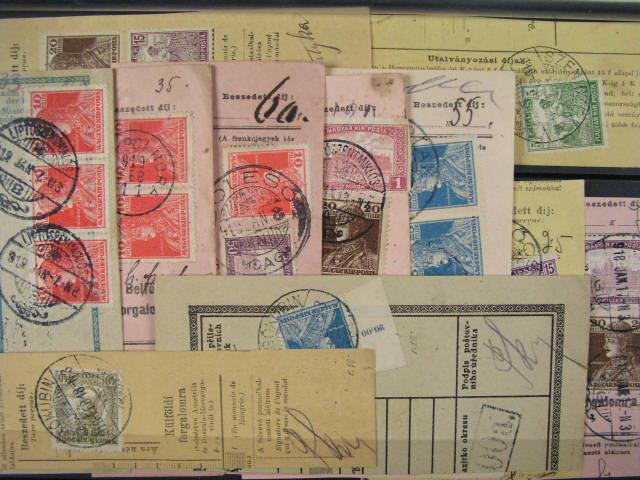 sestava 11 ks ústřižků pošt. průvodek frank. uherskými známkami, zajímavé frankatury, razítka, např. LÖCSE, ALSÓKUBIN, SZENICZE, LIPTOSZENMIKLÓS ...
