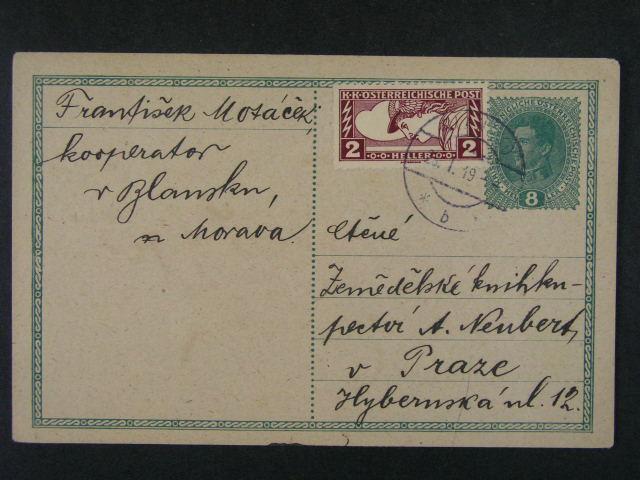 sestava 3 ks rakouských KL 8, resp. 12h a lístek FP frank. svisle půlenou zn. 20h Karel, zajímavé, k prohlédnutí