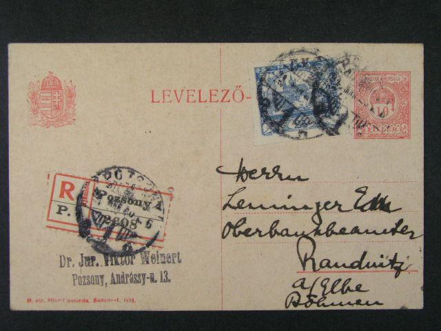 uherský KL 10fil RECO do Roudnice, dofrank. zn. č. 10, pod. raz. POZSONY 20.MAR.1919, zajímavé