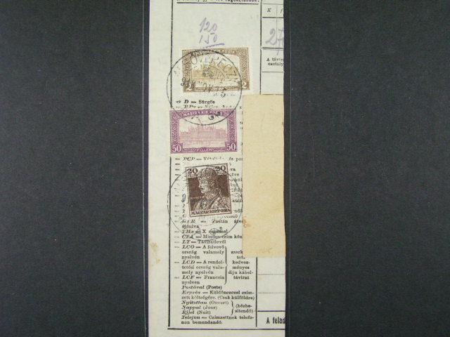 ústřižek uherského telegramu frank. zn. Mi. č. 202, 204, 205, pod. raz. ALSÓVERECZKE (Nižní Verecki) 15.NOV.1918, velmi zajímavé
