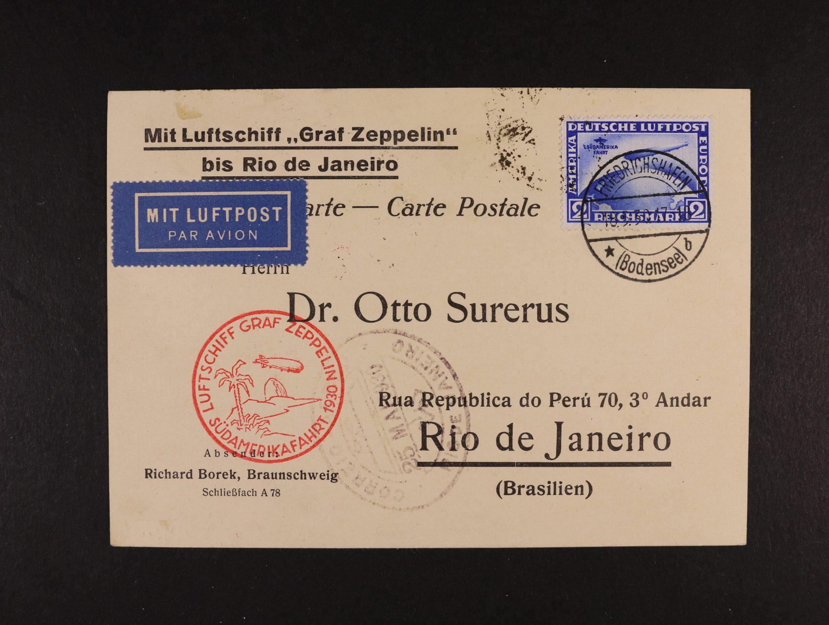 Německo - SÜDAMERIKAFAHRT 1930 - oficielní let. KL do Brazílie frank. zn. Mi. č. 438, pod. raz. FRIEDRICHSHAFEN 18.5.1930, červený kašet, přích. a průch. raz.