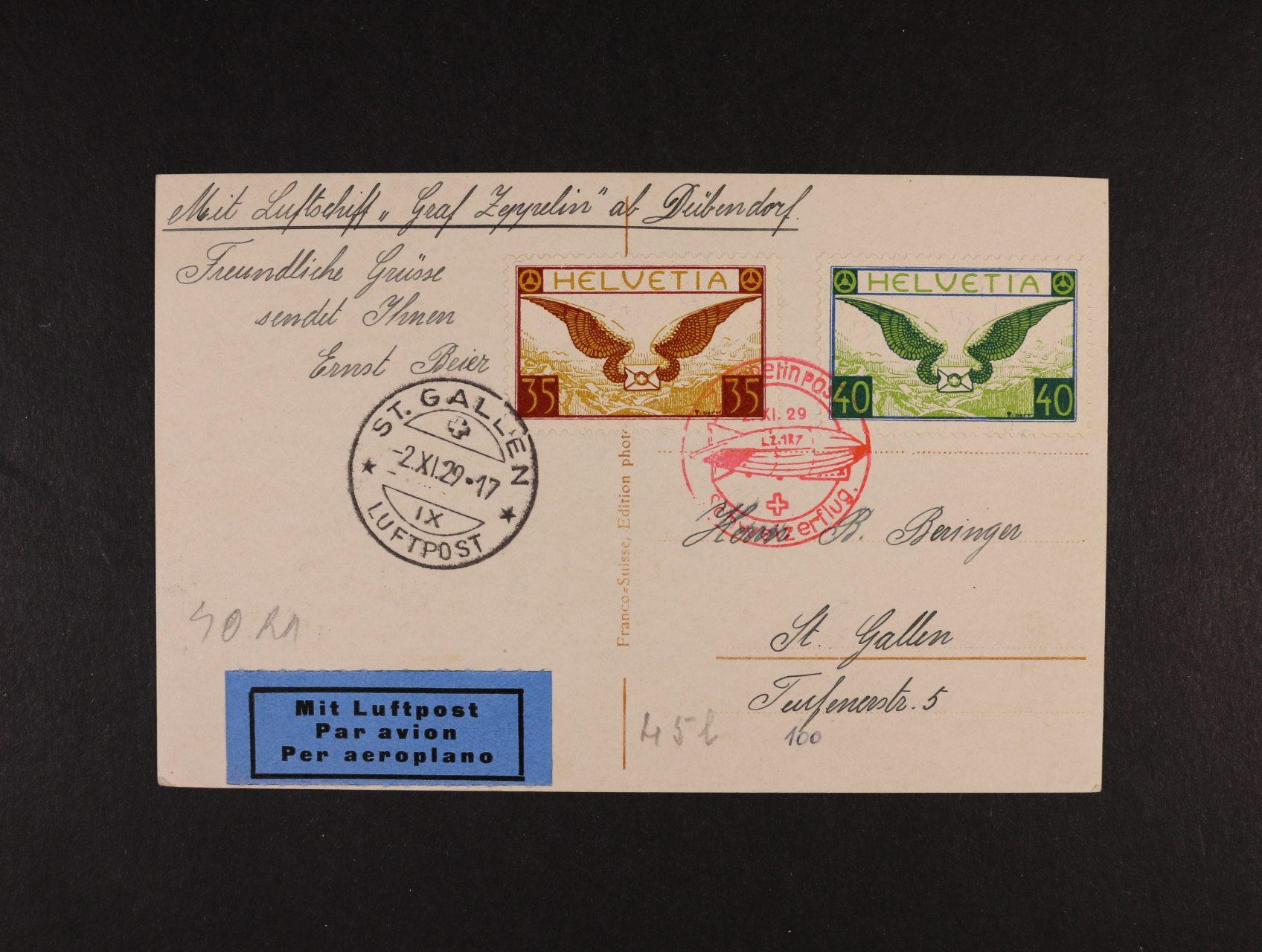 Švýcarsko - jednobar. fotopohlednice B 841 Luftschiff Graf Zeppelin frank. zn. Mi. č. 233 - 4, červené pod. raz. ZEPPELINPOST SCHWEIZERFLUG 2.11.29 + přích. raz., lux. kvalita, zajímavé