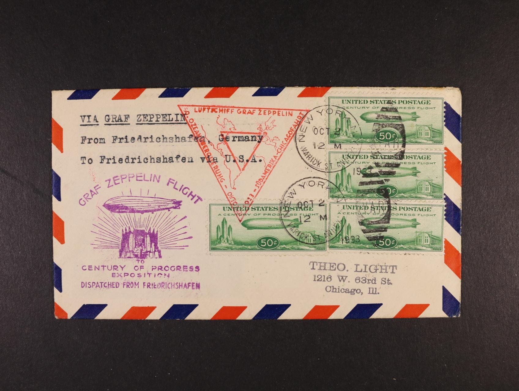 USA - celistvost přepr. zepp. letem S.A.F. - Chicagofahrt frank. násobnou frankaturou zn. Mi. č. 358 (4x), pod. raz. NEW YORK 2.OCT.1933 + červený a fialový trojúhelník. let. kašet, průch. a přích. raz., velmi dobrá kvalita, zajímavé