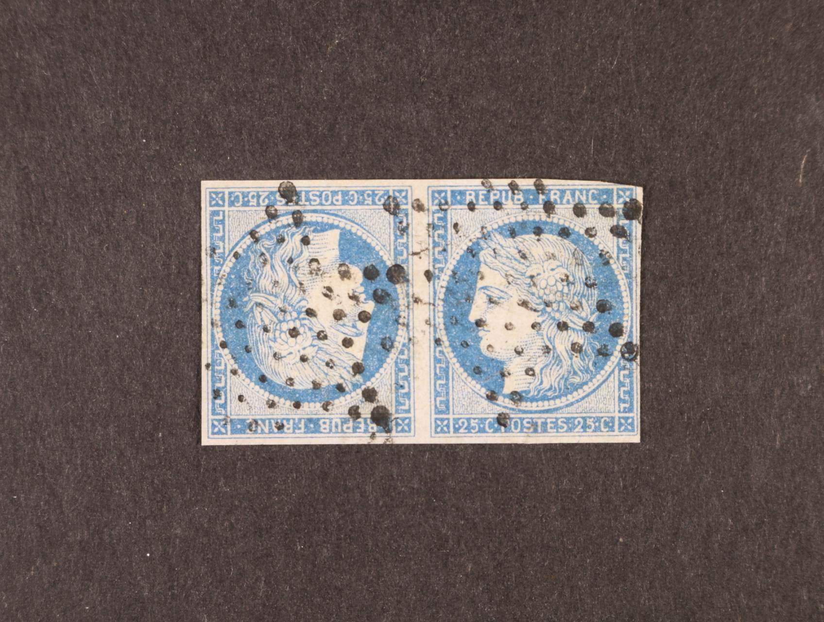 zn. Mi. č. 4 K (Tete - Beche) ve vodorovné dvoupásce s němým hvězdicovým raz., zk. H. Costes, atest J. Pierre Depasse, 11000 EUR