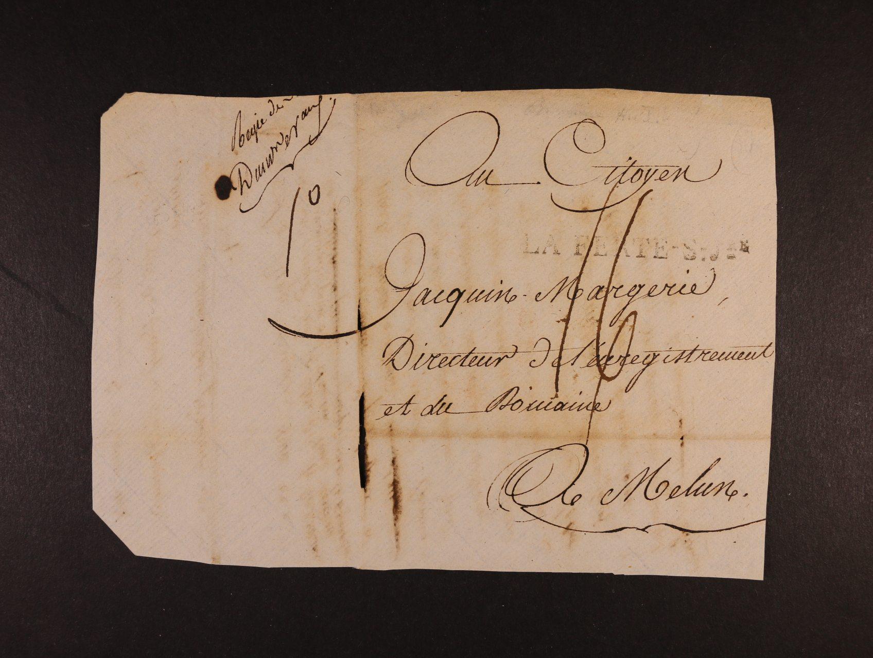 skl. dopis z r. 1799 z období franc. revoluce, dtování dle revolučního kalendáře MELUN LE 8 BRUMAIRE AN 8 = 29.10.1799, ruční vyznačení poštovného v nové měně (1F = 100 CENTIMES), poštovné bylo odstupňováno po 10ti Centimech (= 1 DÉCIME), vyznačeno 16 DÉCIME, tj. 1,60F