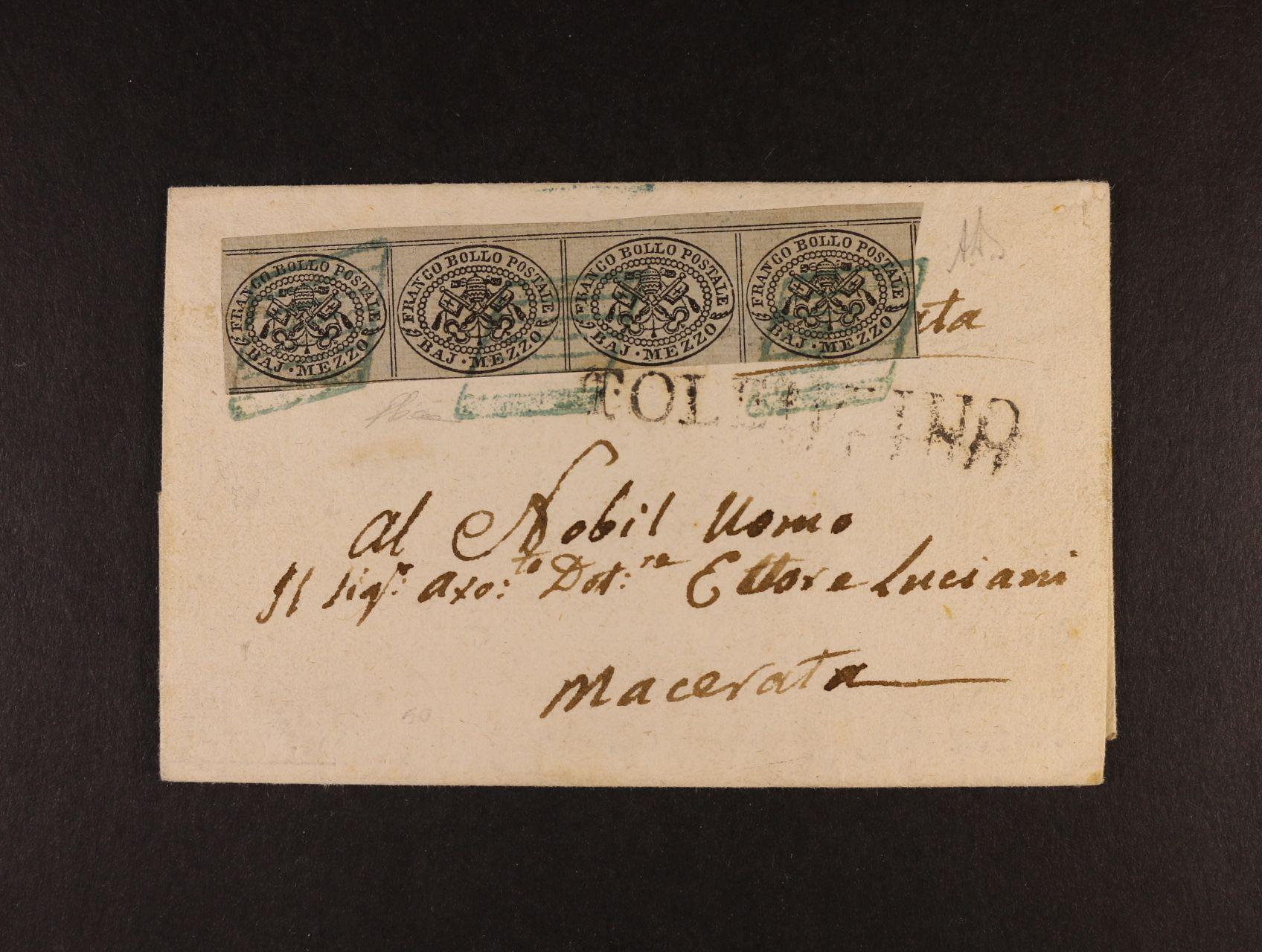 Církevní stát - skl. dopis z r. 1857 frank. vodorovnou čtyřpáskou s horním okrajem zn. Sas. č. 1 se vzácným němým modrozeleným raz. + řádk. raz. TOLENTINO + průch. a přích. raz., zk. a atest Enzo Diena
