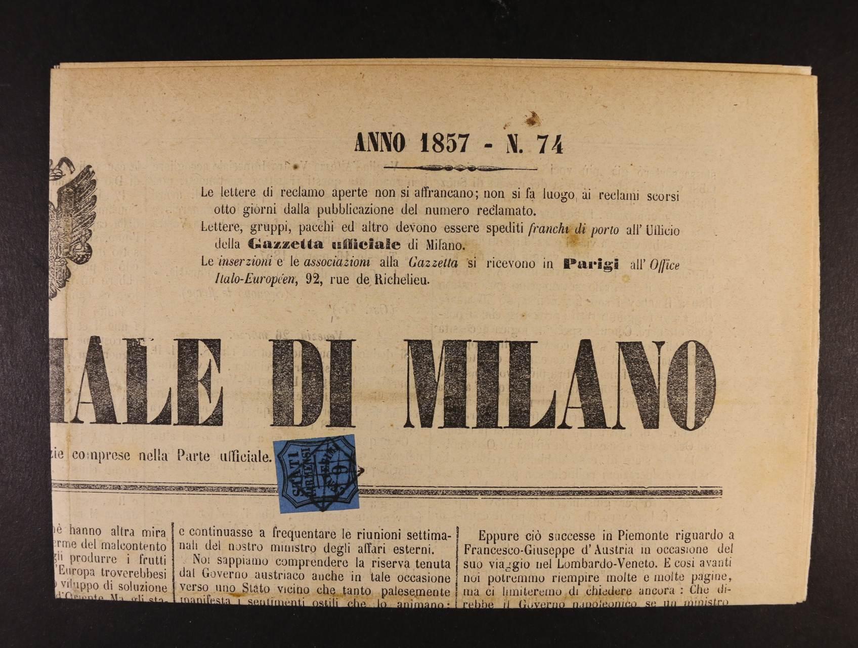 Parma - noviny GAZZETTA UFFICIALE DI MILANO z 27. března 1857 frank. novinovou zn. Mi. č. 1, Sass. č. 2, atest Sorani, velmi zajímavé, vzácné, kat. cena raz. zn. 20000 EUR