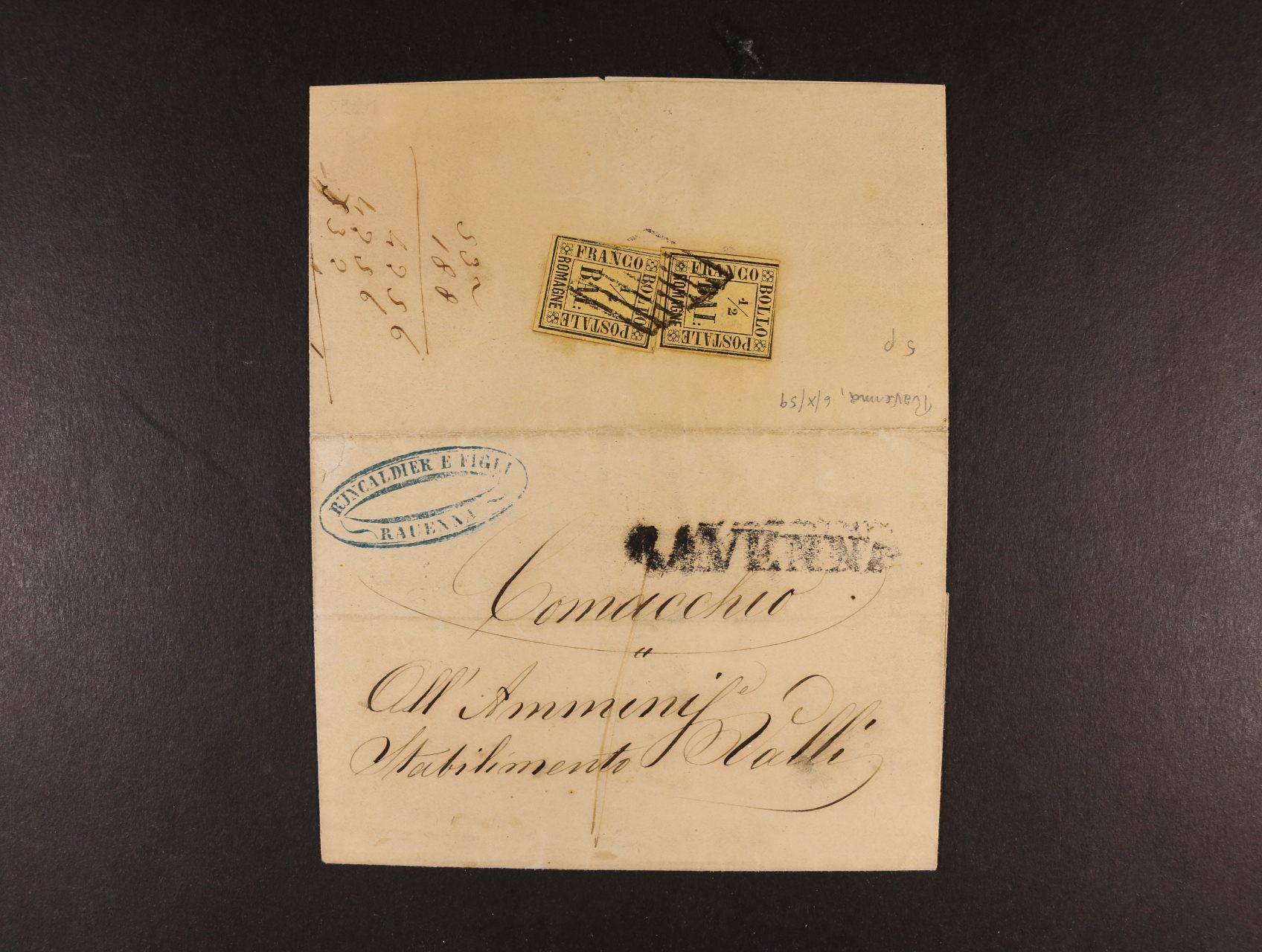 Romagna - skl. dopis z r. 1859 frank. zn. Sass. č. 1 1/2Bai, atest Dr. Helmuth Avi, Švýcarsko, kat. cena 6000 EUR