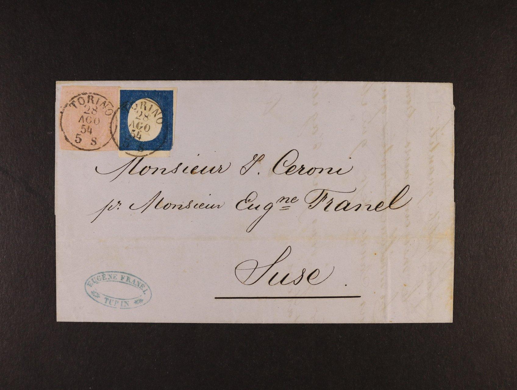 Sardinie - skl. firemní dopis z r. 1854 z Torina do Susa, frank. smíš. frankaturou dvou emisí II + III, Sas. č. 6 40c růžová + Sas. č. 8 20c modrá, pod. raz. TORINO 28.AGO.54, přích. raz., atest Dr. Helmuth Avi, 35000 EUR