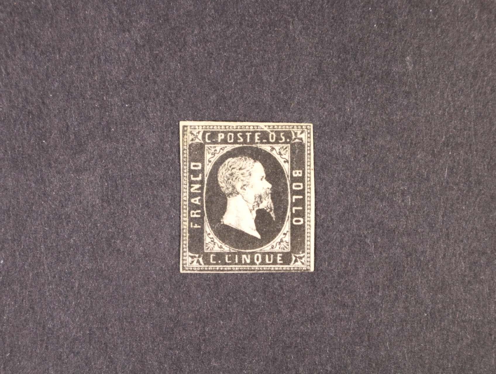 Sardinie - zn. Sas. č. 1a  5 C černá, zk. Diena, atest Sorani, 32000 EUR