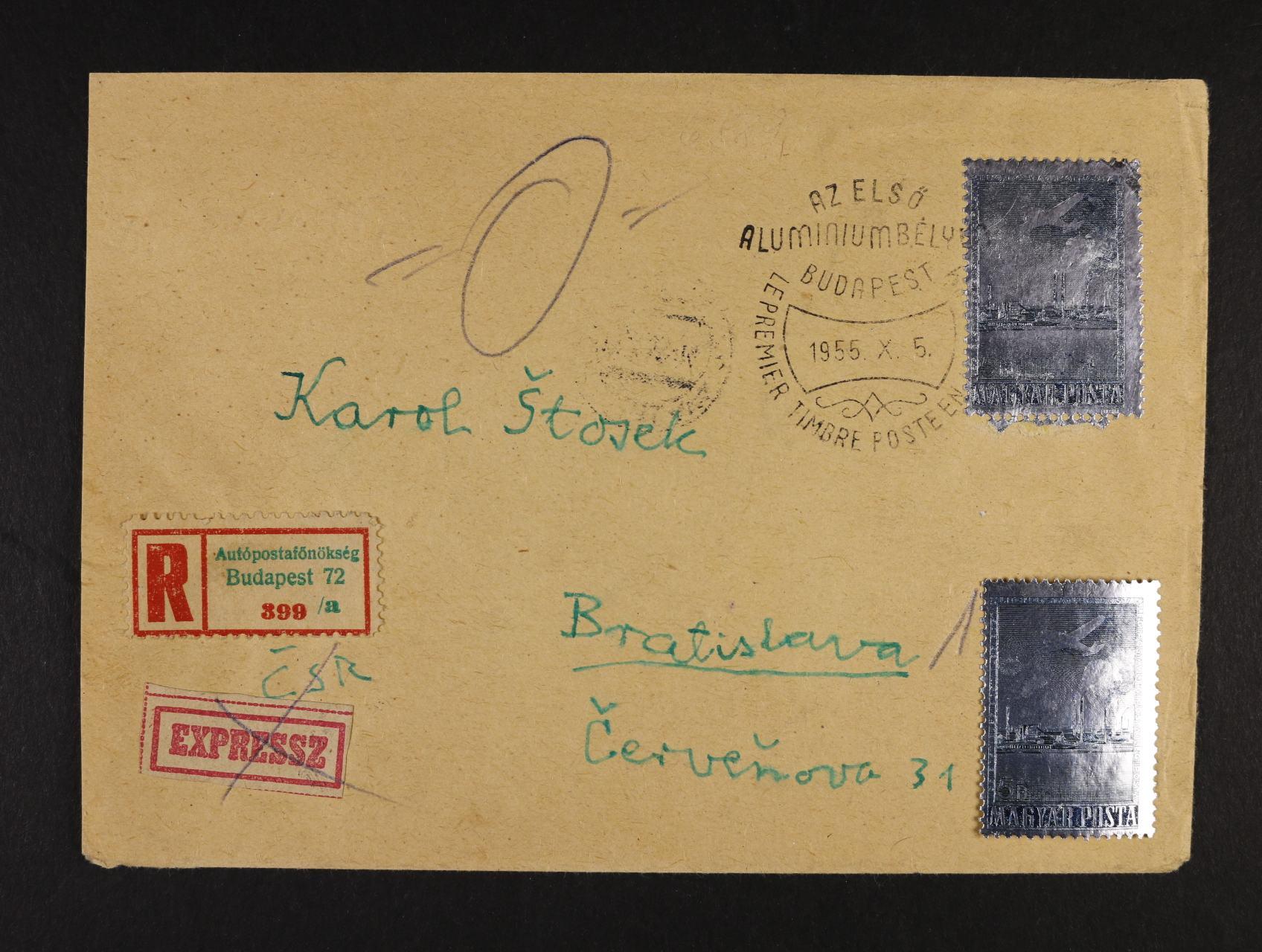 R-dopis do Bratislavy frank. zn. Mi. č. 1449, pod. raz. FDC BUDAPEST, + svěží zn. č. 1449