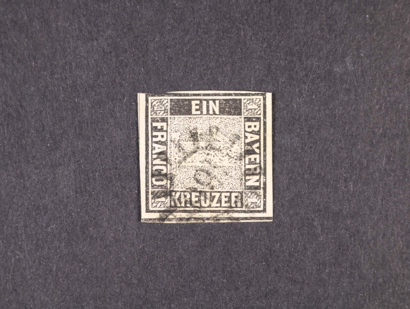 Bavorsko - zn. Mi. č. 1 Ia 1Kr. schwarz, deska 1, s raz.
