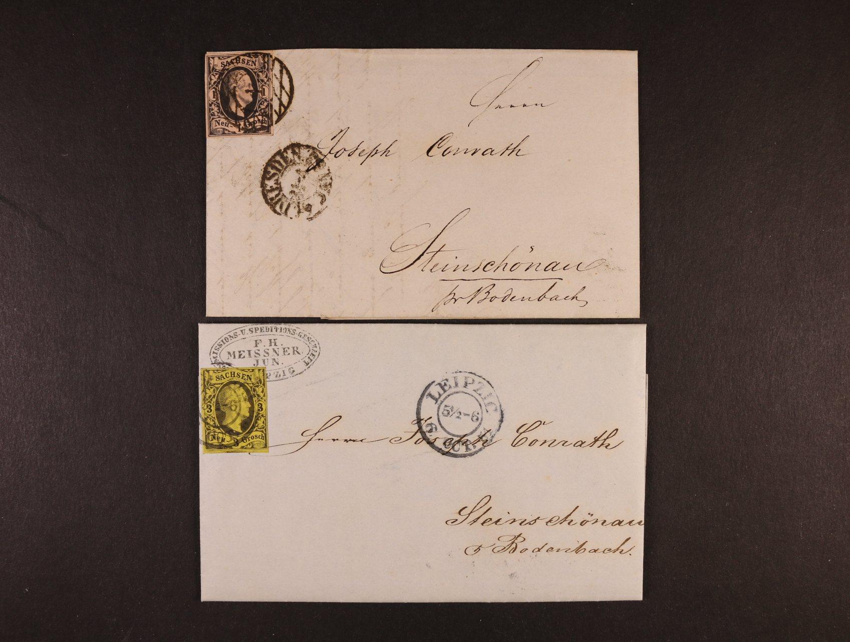 Sachsen - skl. dopis z r. 1851 frank. zn. Mi. č. 6 s pod. raz. LEIPZIG a dtto z r. 1853 frank. zn. Mi. 4, znehodnoc. čís. raz. + denní raz. DRESDEN, velmi dobrá kvalita