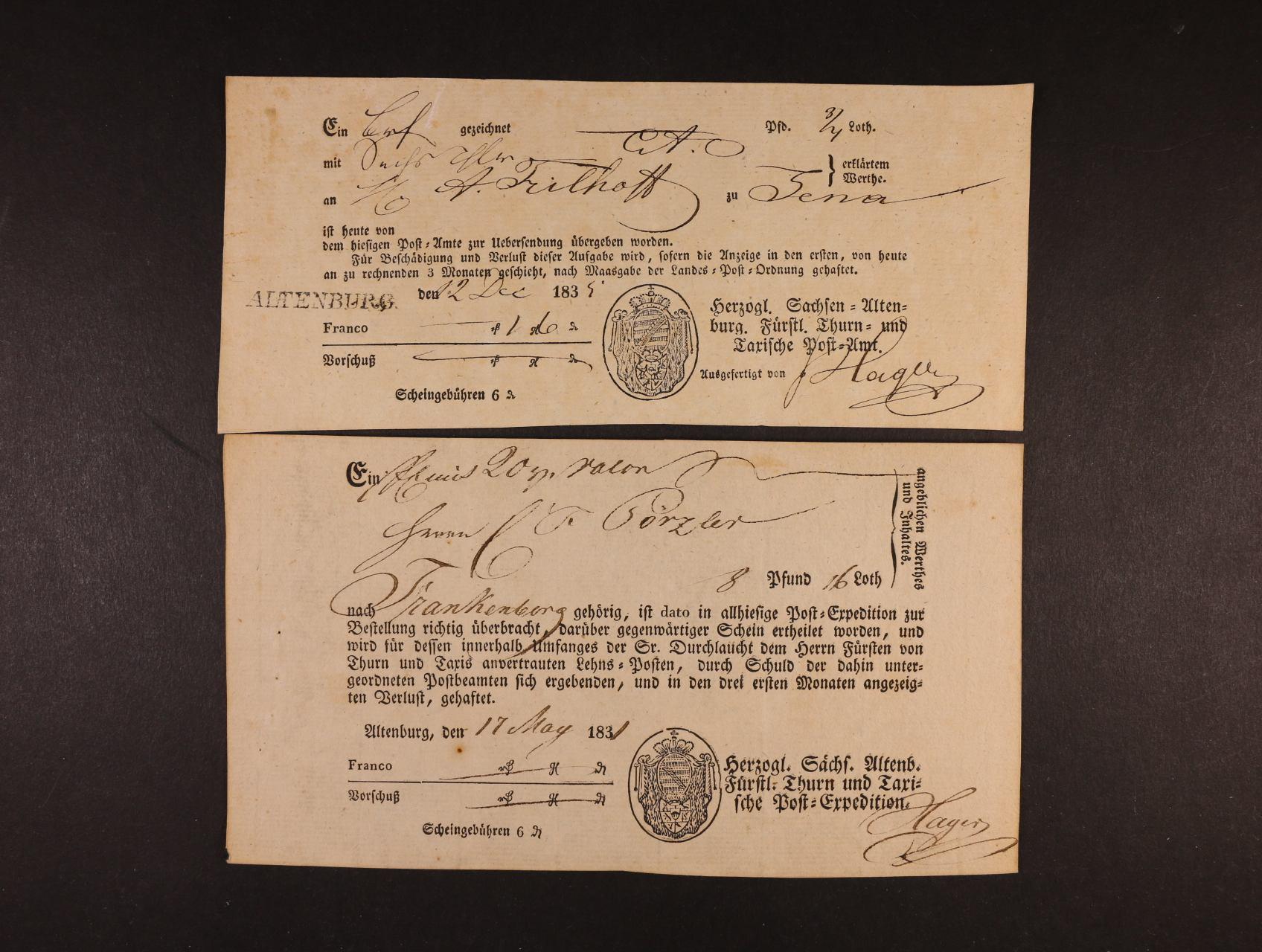 Thurn Taxis - 2 pod. lístky knížecí pošty Thurn-Taxis z let 1831 a 1834, 1x s raz. ALTENBURG