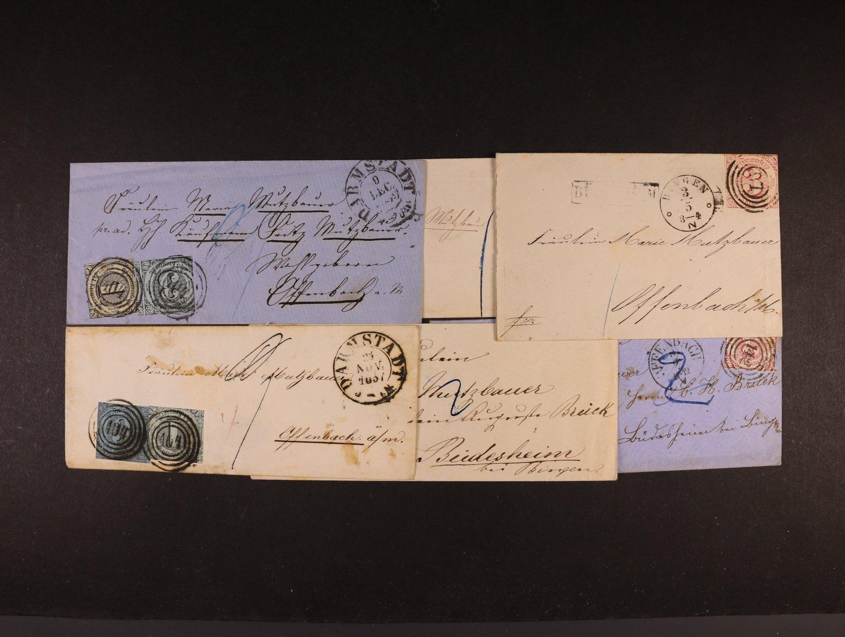 Thurn Taxis - dopis frank. zn. Mi. č. 4 + 6, čís. raz. 104 a denním raz. DARMSTADT 9.DEC.1859, dopis frank. zn. Mi. č. 7 + 8, čís. raz. 104 a denní raz. DARMSTADT 25.NOV.1857, 8 ks dopisů frank. zn. Mi. č. 6 s různými číselnými a denními raz., min. 700 EUR