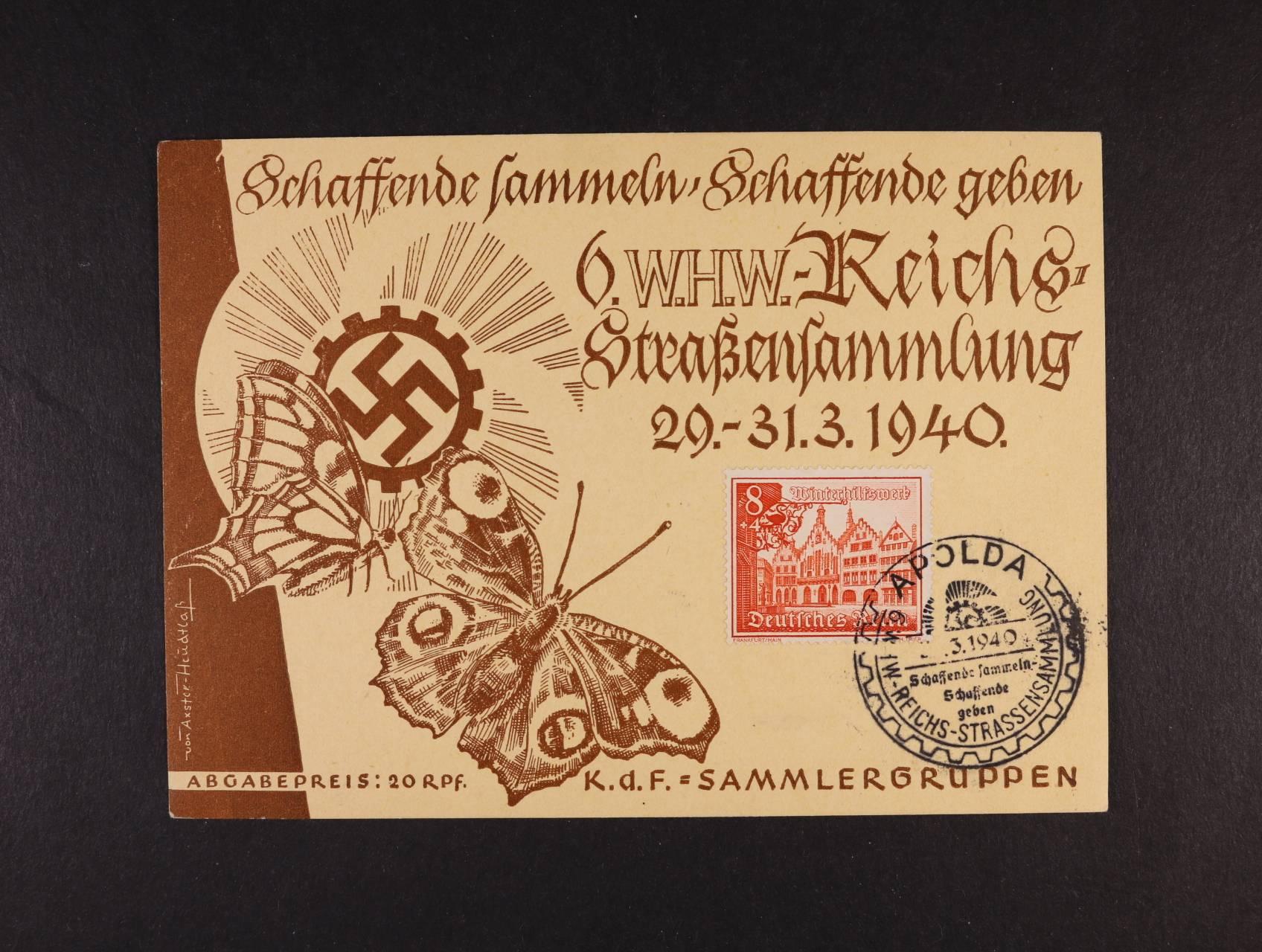 pam. list k výstavě APOLDA 29. - 31.3.1940 s vylepenou zn. Mi. č. 734 a výstavním raz., lux. kvalita