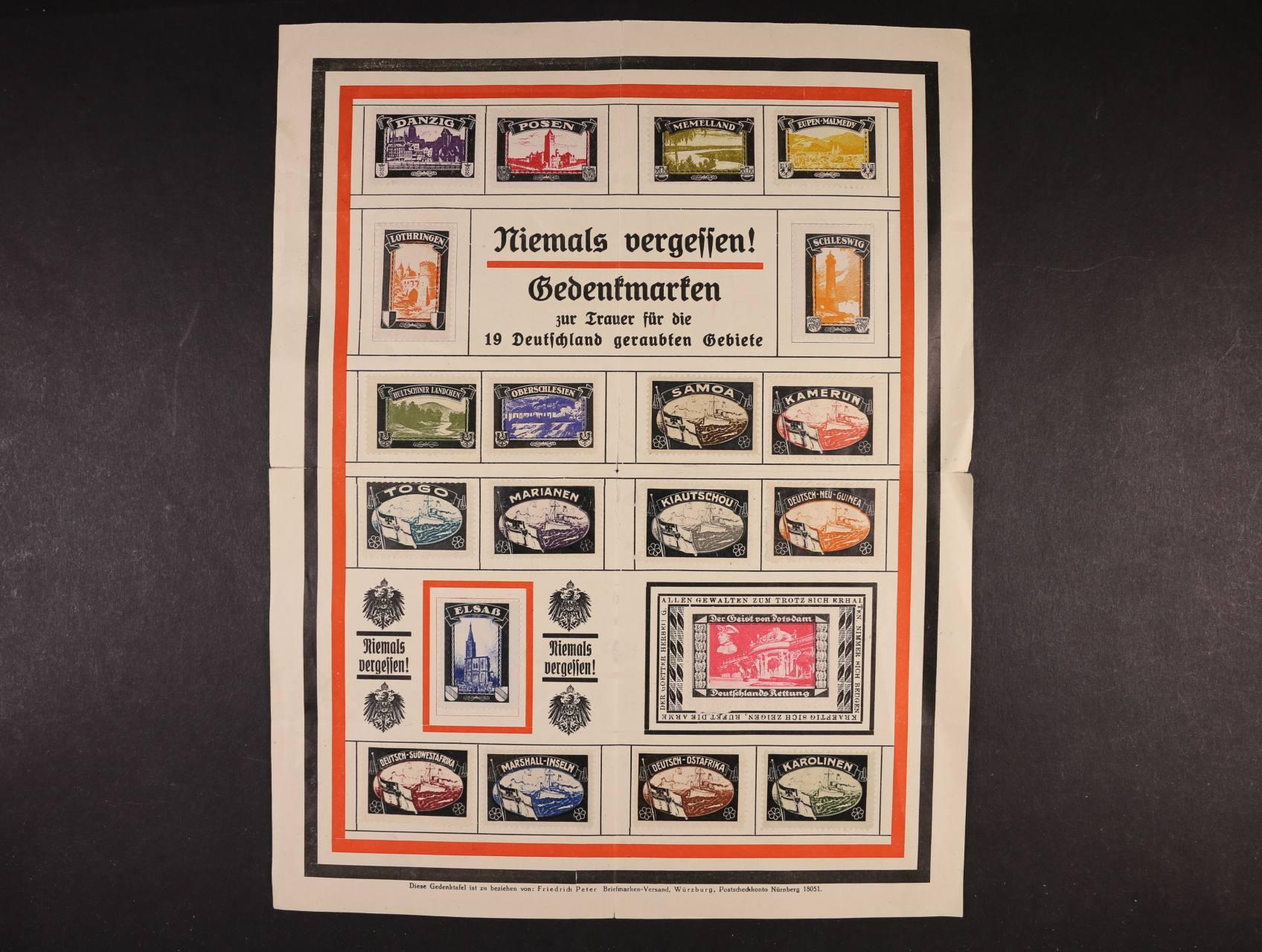 nabídkový list s 20ti ks propag. nálepkami obsazených území Danzig, Posen, Deutsch - Ostafrika, Karoůinen
