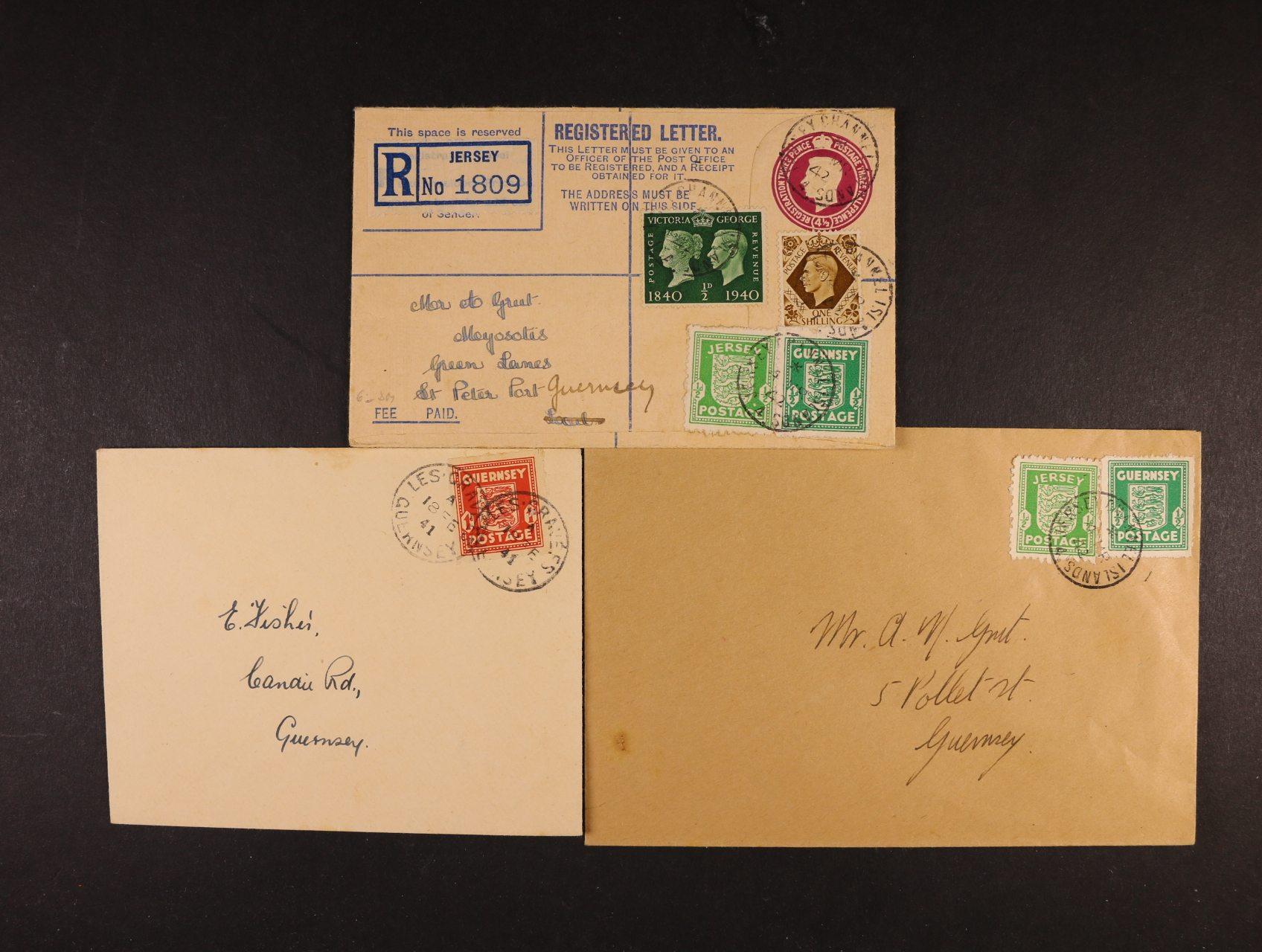 Guernsey - Jersey - sestava 3 ks dopisů (1x RECO) z let 1941 - 42, frank. mj. zn. Guernsey a Jersey, dobrá kvalita, zajímavé