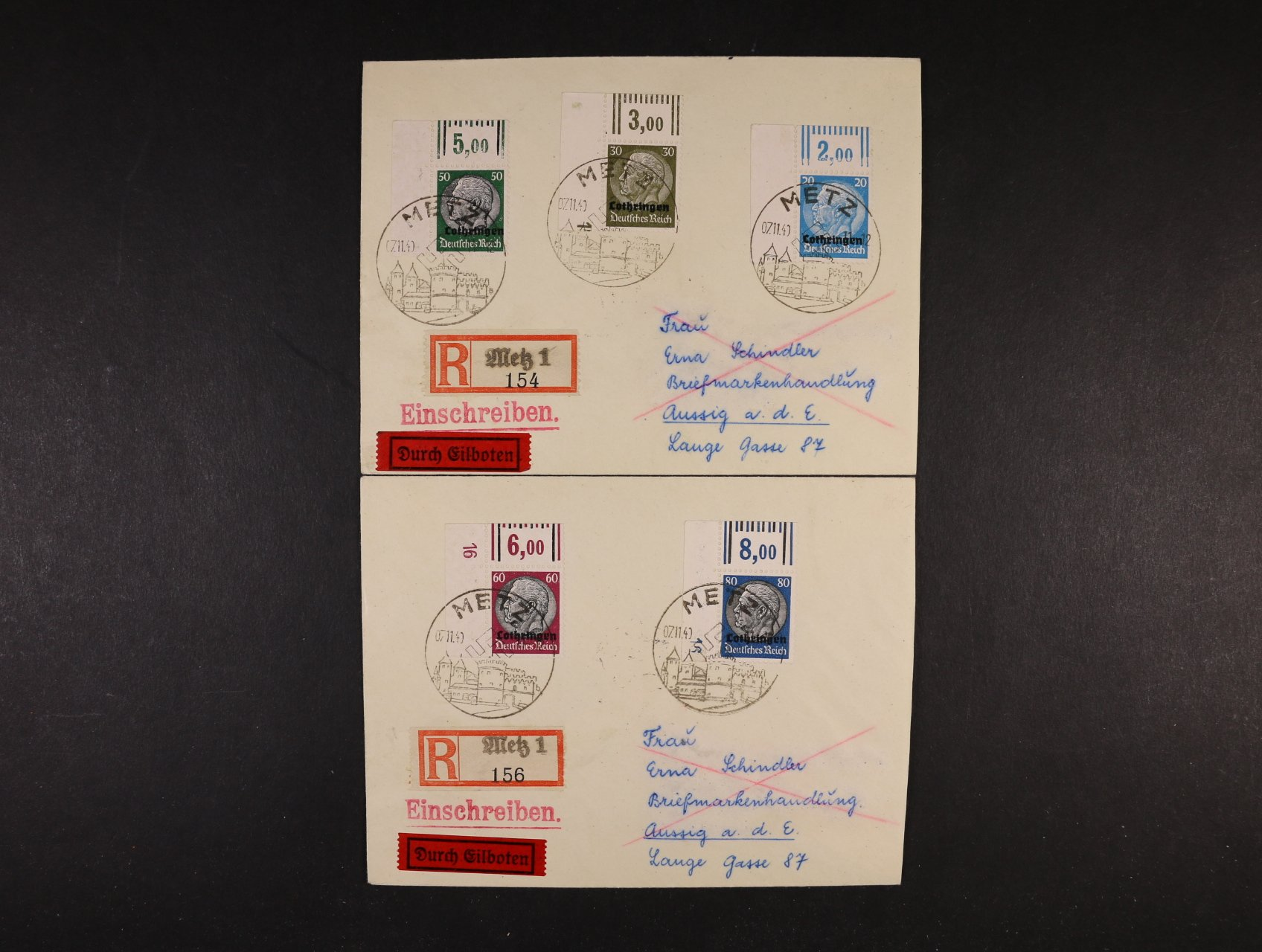 Lotringen - dva R-EXPRES dopisy do Protektorátu frank. zn. Mi. č. 9, 11, 13, 14 a 15, pod. příl. raz. METZ 7.2.14